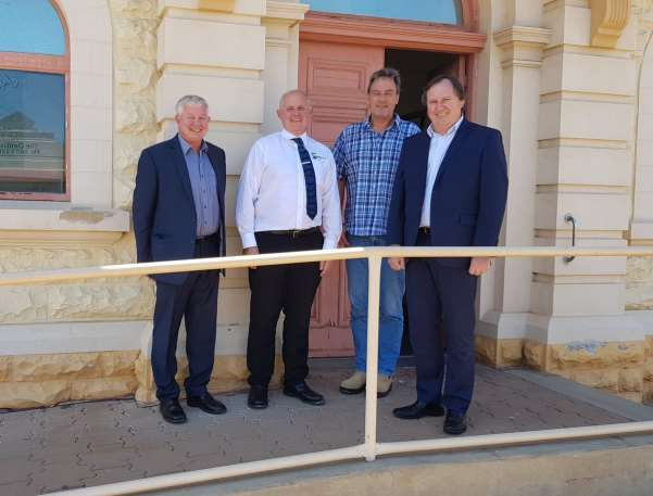 Central Queensland University Vice Chancellor, Professor Scott Bowman and Professor Drew Dawson, with Port Pirie Mayor John Rodhe and Dr Peter Munn from Whyalla inspecting potential sites for a University Study Hub in the city.