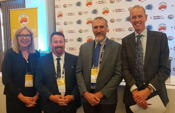(L to R) Port Pirie Deputy Mayor Alan Zubrinich, Whyalla Council CEO Chris Cowley, WhyallaMayor Clare McLaughlin, Port Pirie Mayor Leon Stephens, Port Augusta Mayor Brett Benbow andRegional Australia Institute co-CEO Dr Kim Houghton at the 'Regions Rising' National Summit inCanberra